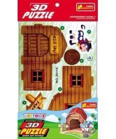 Настольная игра Іграшки 3D-пазли Будинок для вихованця корівка (4в1)