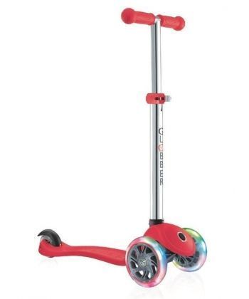 Самокат GLOBBER серии PRIMO LIGHTS, красный, колеса с подсветкой, до 50кг, 3+, 3 колеса