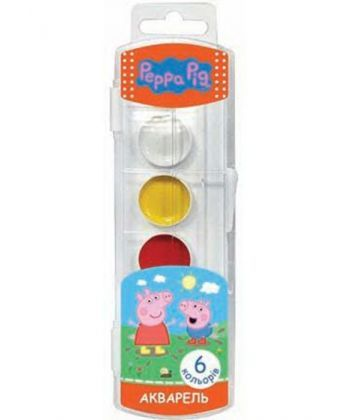 Фарба акварельна медова Peppa Pig, 6 кольорів