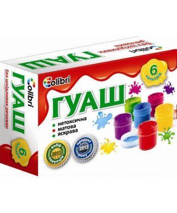 Фарба гуаш Яскраві плями 6 кольорів, 20 мл.Ц394001У