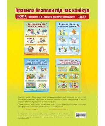 Правила безпеки під час канікул. Комплект із 4-х плакатів для початкової школи