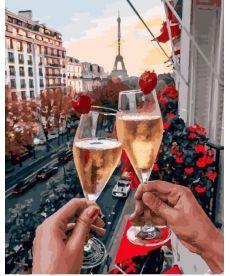 Картина по номерам Бокалы Парижа с ягодами 40х50 см (PGX25427)