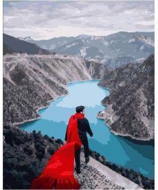 Картина по номерам Красный шарф на гребле Деринер 40х50 см (PGX25388)