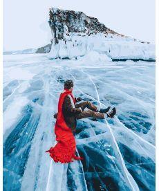 Картина по номерам Красный шарф на льдине байкала 40х50 см (GX26284)