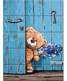 Картина по номерам Мишка с букетом 30 х 40 см (ASW055)