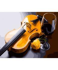 Картина по номерам Бокал и скрипка 40 х 50 см (BK-GX27891)