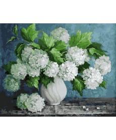 Картина по номерам Пышный букет в белой вазе 40 х 50 см (BK-GX29093)