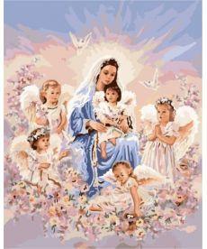 Картина по номерам Дева в окружении ангелов 40 х 50 см (BK-GX7401)
