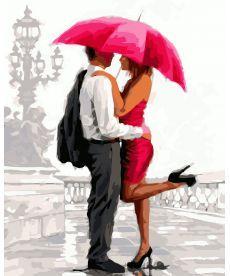 Картина по номерам Влюбленные под алым зонтом 40 х 50 см (BK-GX8042)