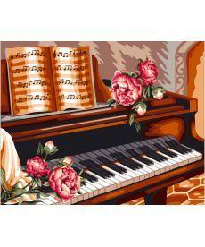 Картина по номерам Розы и пианино 40 х 50 см (BRM24082)