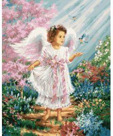 Картина по номерам Ангелочек в цветущем саду 40 х 50 см (BRM27188)