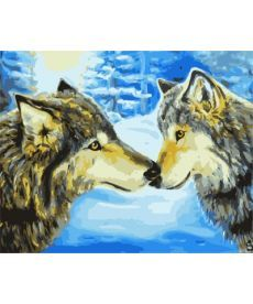 Картина по номерам Волки в зимнем лесу 40 х 50 см (BRM7194)