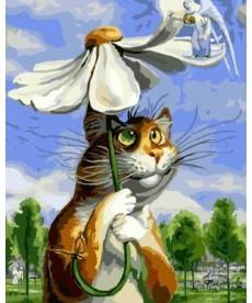 Картина по номерам Кот с ромашкой 40 х 50 см (BRM8338)