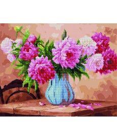Картина по номерам Пионы в голубой вазе 40 х 50 см (GZS1019)