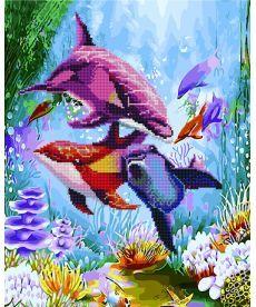 Картина по номерам Яркие дельфины 40 х 50 см (GZS1024)