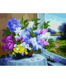 Картина по номерам Сирень на окне 40 х 50 см (GZS1030)