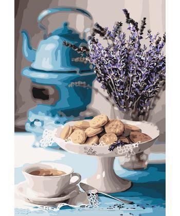 Картина по номерам Лавандовое чаепитие 35 х 50 см (KHO5558)
