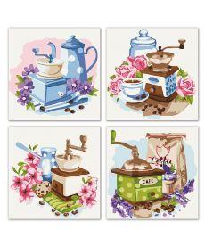 Картина по номерам Квартет Цветочное кофе Квартет 18 х 18 см (KNP018)