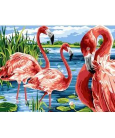 Картина по номерам Фламинго на озере 30 х 40 см (VK207)