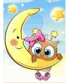 Картина по номерам Совенок на луне 30 х 40 см (VK227)
