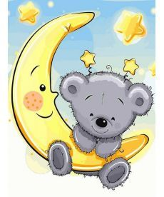 Картина по номерам Мишка на луне 30 х 40 см (VK228)