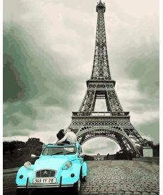 Картина по номерам Авто у Эйфелевой башни 40 х 50 см (VP1195)