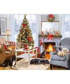 Картина по номерам Рождественское утро у камина 40 х 50 см (VP998)
