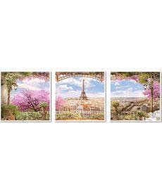 Картина по номерам Весенний париж Триптих 50 х 150 см (VPT006)