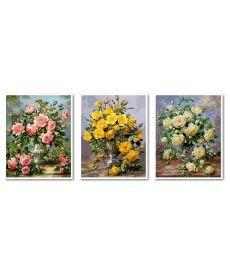 Картина по номерам Триптих Розовое великолепие Триптих 50 х 120 см (VPT015)