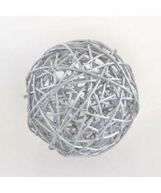 Шар ротанговый серебряный, d-10см