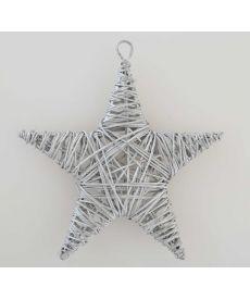 Звезда ротанговая серебряная, 15 см