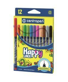 Маркер линер HAPPY Centropen 0.3 мм 12цв 2521