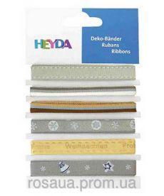 Набор лент из ткани ''Зимний микс'', 6 шт., 0,6-1,2см, 90см, Heyda