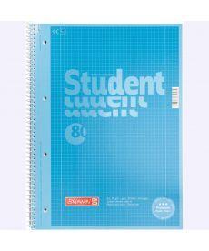 Записная книга коледж-блок А4 Brunnen 80 л. клетка карт. обл. спираль синий Premium 10-679 28 133