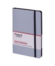 Записная книга блокнот Axent 125х195мм 96л клетка,тв. обл.,серебряный Partner Soft 8206-34-A