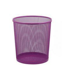 Корзина для бумаг круглая 295x295x280мм металлическая розовый