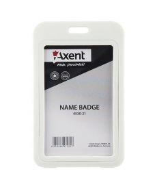 Бейдж вертикальний Axent 50х84мм PP в рамке глянцевый белый 4530-21-A