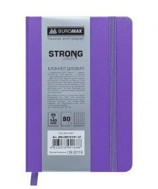 Записная книга блокнот Buromax STRONG LOGO2U 95x140мм искусств. кожа 80л. клетка фиолетовый BM.29012