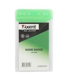 Бейдж вертикальний Axent 51х83мм матовый зеленый 4514-04-A