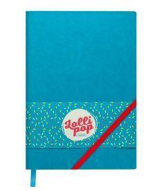Записная книга блокнот Buromax LOLLIPOP LOGO2U А5 искусств. кожа 96л. клетка бирюзовый BM.295103-06