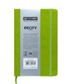 Записная книга блокнот Buromax PROFY LOGO2U 125x195мм искусств. кожа 80л. клетка салатовый BM.299121