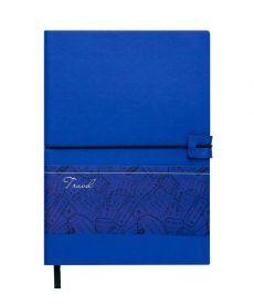 Записная книга блокнот Buromax TRAVEL LOGO2U А5 искусств. кожа 96л. клетка синий BM.29521102-02