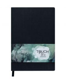 Записная книга блокнот Buromax TOUCH ME LOGO2U А5 искусств. кожа 96л. клетка черный BM.295102-01