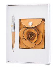 Набор подарочный Floret: ручка шариковая + кошелек для монет + зеркальце желтый