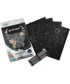 Раскраска CENTROPEN А4 на черной бумаге 6 маркеров 1мм K15-275-1К