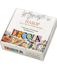 Набор DECOLA по стеклу и керамике: краски акрил. 5X20мл, контуры в тубе2X18мл , разбав ЗХК