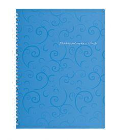 Записная книга коледж-блок А4 Buromax 80 л. клетка пласт. обл. спираль голубой Barocco BM.2446-614