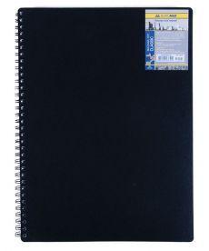 Записная книга блокнот А6 Buromax 80 л. клетка пласт. обл. спираль чёрный CLASSIC BM.2589-001