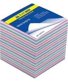 Блок бумаги для заметок непроклеенный Buromax 90х90х40мм ассорти цветов BM.2265