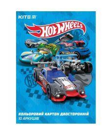 Картон цветной Kite А4 Hot Wheels двухстор 10стр/10цв HW19-255